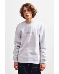 Stussy Gray Weld Crew-neck Sweatshirt for men