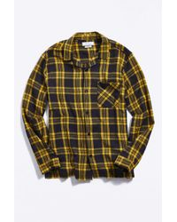 Urban Outfitters Yellow Uo Camp Collar Flannel Shirt for men