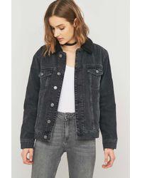 BDG Gray Oversized Western Sherpa Black Denim Jacket