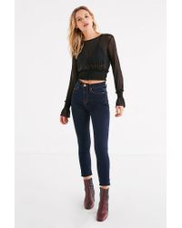 Urban Outfitters Black Uo Mesh Bell Sleeve Top