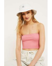 Urban Outfitters Uo Rib Knit Pink Bandeau Top