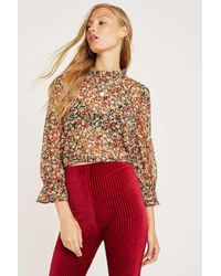 Urban Outfitters Black Uo Floral High Neck Blouse
