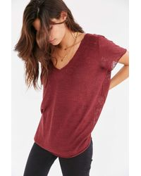 Project Social T | Purple Textured-knit V-neck Tee | Lyst