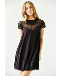 Kimchi Blue Black Lily Embellished Trapeze Dress