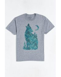Urban Outfitters | Gray Fern Pattern Wolf Tee for Men | Lyst