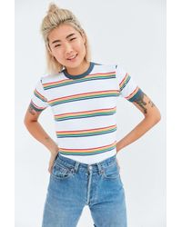 Truly Madly Deeply Multicolor Jewel Stripe Ringer Tee