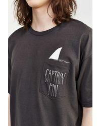 Captain Fin Brown Shark Fin Pocket Tee for men