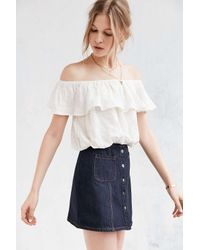 Kimchi Blue | White Ruffle Off-the-shoulder Cropped Top | Lyst