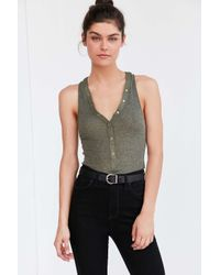Out From Under Green Henley Tank Top