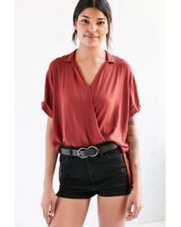 Silence + Noise | Red High/low Surplice Tee Blouse | Lyst