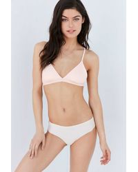 Out From Under - White Ribbed Triangle Bra - Lyst