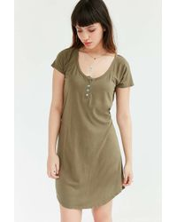 Truly Madly Deeply Natural Henley T-shirt Dress