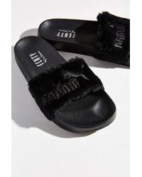 new products 61717 25e51 Women's Black Rihanna Leadcat Fenty Faux-Fur Slide