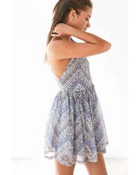 Ecote - Purple Bonita High-neck Print Mini Dress - Lyst