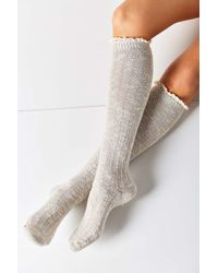 Urban Outfitters | Gray Crochet Cuff Knee-high Sock | Lyst