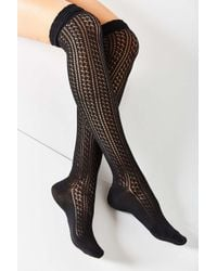 Urban Outfitters - Black Crochet Double Cuff Over-the-knee Sock - Lyst