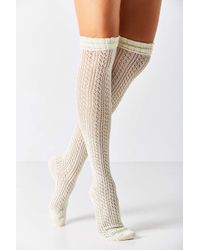 Urban Outfitters | White Crochet Double Cuff Over-the-knee Sock | Lyst