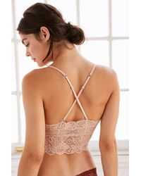 Urban Outfitters - Blue Alvin Lace Longline Molded Cup Bralette - Lyst