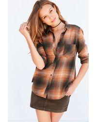 BDG   Orange Polly Flannel Button-down Shirt   Lyst