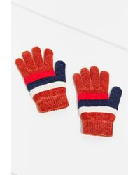 Urban Outfitters Red Chenille Striped Glove