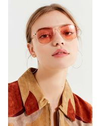 Urban Outfitters - Pink Far Out Translucent Metal Aviator Sunglasses - Lyst