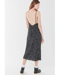 Urban Outfitters Black Uo Ramona Floral Backless Slip Dress