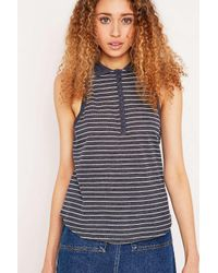 BDG Black Striped For Life Blue Polo Tank Top