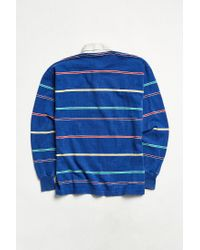 Urban Outfitters Vintage Rei Blue Multi Stripe Rugby Shirt for men