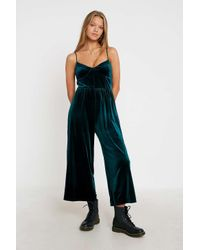 Urban Outfitters Green Uo Simi Velvet Jumpsuit