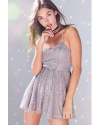 Kimchi Blue | Metallic Victoria Sweetheart Shimmer Lace Romper | Lyst