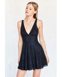 Kimchi Blue   Blue Plunging Lace Fit + Flare Mini Dress   Lyst