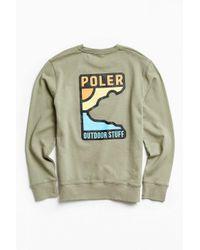 Poler | Green Geo Bear Crew Neck Sweatshirt for Men | Lyst