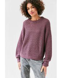 BDG - Purple Ashley Waffle Stitch Crew Neck Sweater - Lyst