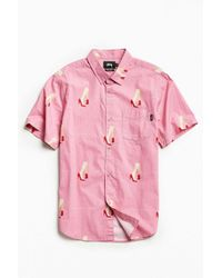 Stussy | Pink Good From Any Angle Short Sleeve Button-down Shirt for Men | Lyst