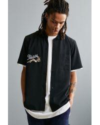 Stussy Black Garage Knit Collar Short Sleeve Button-down Shirt for men