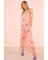 Kimchi Blue | Winnie Floral Print Pink Balloon-leg Jumpsuit | Lyst