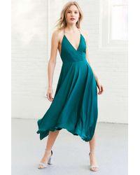 Kimchi Blue | Green Vida Satin Handkerchief Midi Dress | Lyst