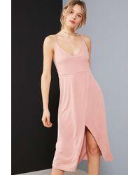 Silence + Noise   Pink Cupro V-neck Midi Wrap Dress   Lyst
