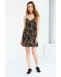 Kimchi Blue | Black Floral Babydoll Mini Dress | Lyst