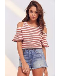 Kimchi Blue   Red Striped Cold-shoulder Cropped Sweater   Lyst