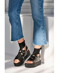 Urban Outfitters | Black Ribbon Lace-up Platform Sandal | Lyst