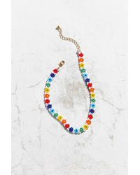 Urban Outfitters | Blue Andie Beaded Flower Choker Necklace | Lyst
