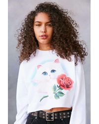 Truly Madly Deeply | White Airbrush Cat Cropped Pullover Sweatshirt | Lyst