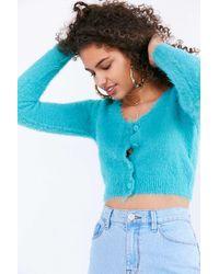 Kimchi Blue   Blue Fuzzy Button-down Cropped Cardigan   Lyst