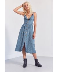 Cooperative Blue Emilia Linen Button-down Midi Dress