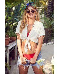 BDG | Multicolor Jena Tie-front Blouse | Lyst