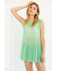 Truly Madly Deeply | Green Mesh Babydoll Tank Top | Lyst