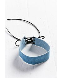 Urban Outfitters - Blue Denim Lace-up Choker Necklace - Lyst