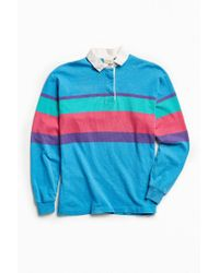 Urban Outfitters Vintage L.l. Bean Colorful Blue Multi Stripe Rugby Shirt for men