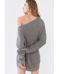 Silence + Noise - Gray Asymmetrical One-shoulder Sweater - Lyst